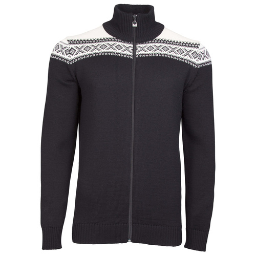 Dale of Norway Men's Cortina Merino Cardigan in Black/Off White, 83321-F