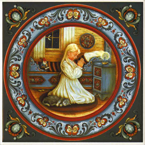 Suzanne Toftey Tile - Norwegian Bedtime Prayer Girl