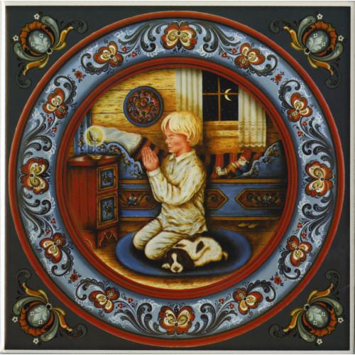 Suzanne Toftey Tile - Norwegian Bedtime Prayer Boy
