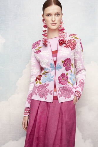 Oleana Medium Length Cardigan, New Floral - Peonies, 333V Pink