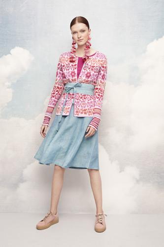 Brigida Oleana Medium Length Cardigan , 343V Pink Floral Tones