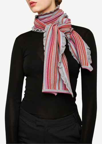 Oleana Scarf, 346D Grey with Coral