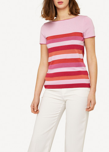 Oleana Short Sleeve Top with Wide Stripes, 310V Pinks