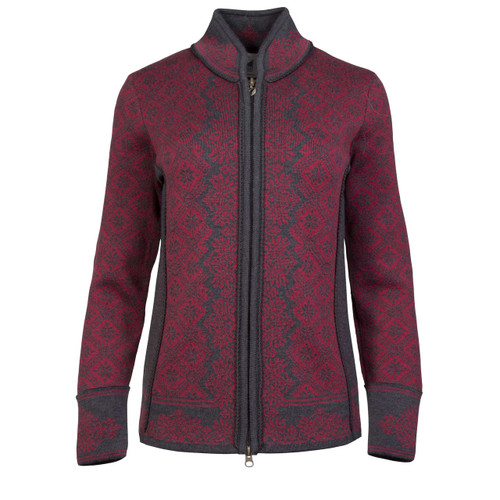 Dale of Norway, Christiania Cardigan, Ladies in Ruby Mele/Dark Charcoal, 81951-V, on sale at The Nordic Shop