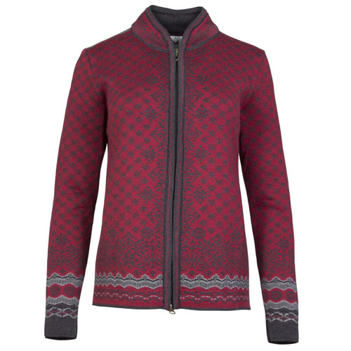Dale of Norway, Solfrid Cardigan, Ladies, in Ruby Mele/Dark Charcoal/Smoke/Black, 83341-V