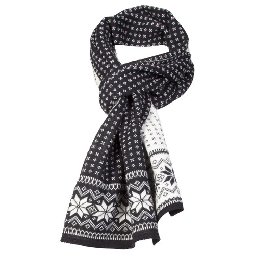 Dale of Norway Garmisch Scarf - Black/Off White/Dark Charcoal, 11691-F