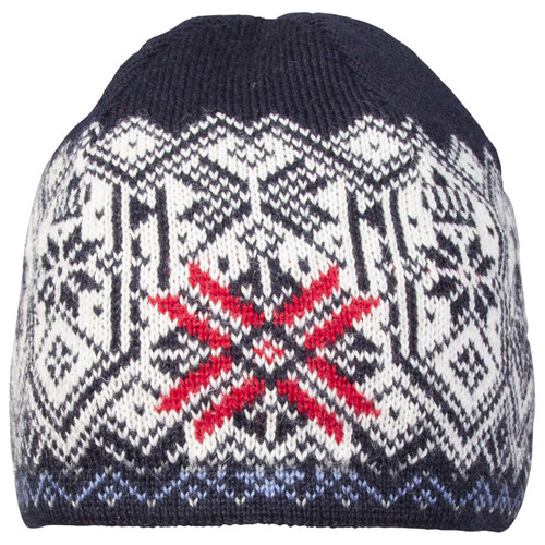 Front View of Dale of Norway Norge Hat - Light Navy/Blue Shadow/Raspberry/Off White/Smoke/Light Charcoal, 48171-C