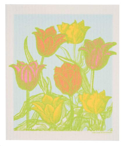 Swedish dish cloth, Botanical Tulip Garden design