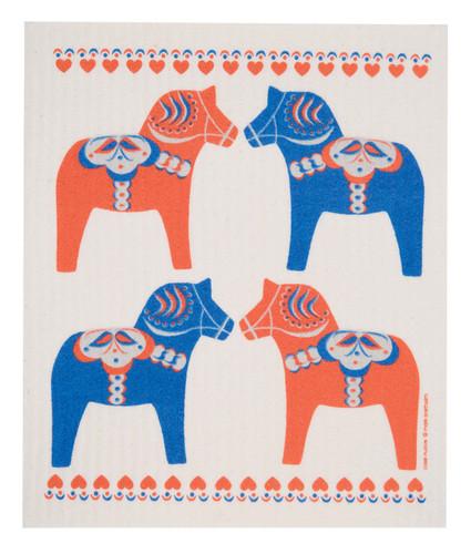Swedish dish cloth, Painted Dala Horse design