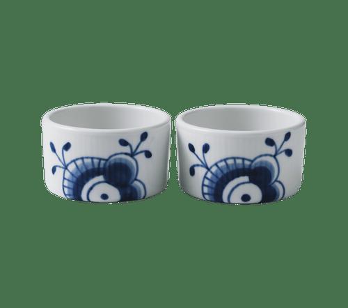 "Royal Copenhagen Blue Fluted Mega - 2 Souffle Bowls, 3.5"""
