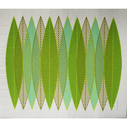 Swedish drying mat, Green Blades design