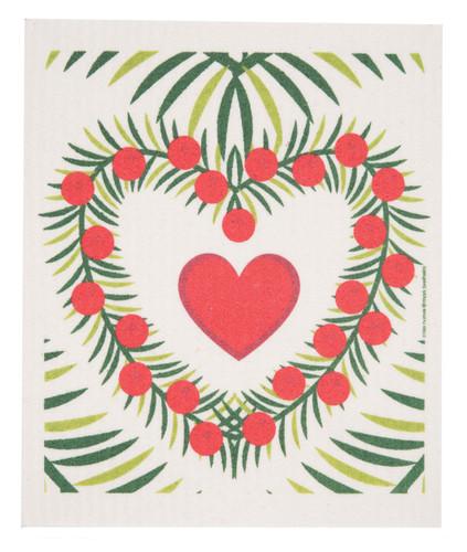 Swedish Christmas Dishcloth - Heart Wreath