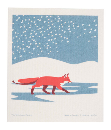 Swedish Christmas Dishcloth - Fox in the Snow