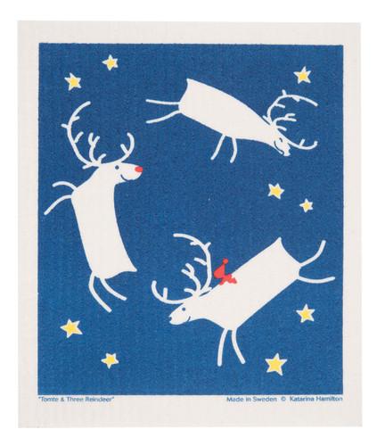 Swedish Christmas Dishcloth - Three Reindeer