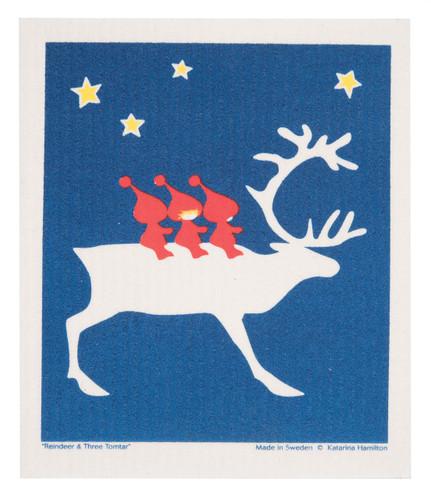 Swedish Christmas Dishcloth - Reindeer and Tomte