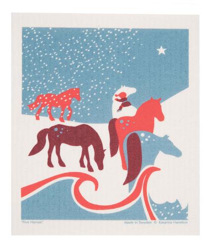 Swedish Christmas Dishcloth - Horses in Field