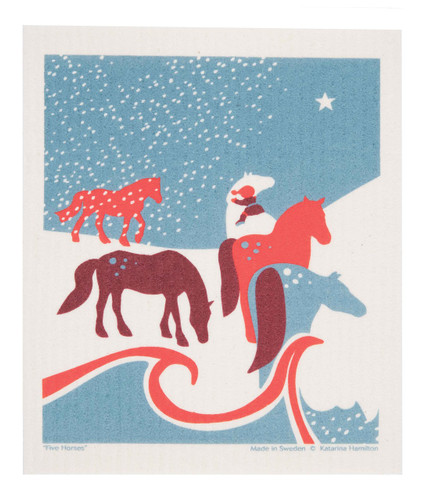 Swedish Christmas Dishcloth - Horses in Field