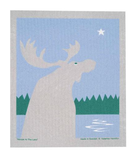 Swedish Christmas Dishcloth - Moose by the Lake