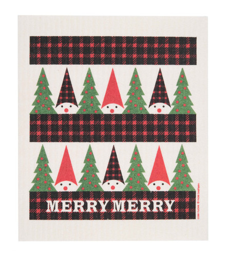 Swedish Christmas Dishcloth - Plaid Tomte