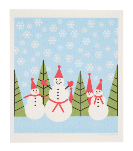 Swedish Christmas Dishcloth - Snowmen and Tomte