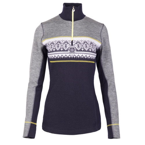 Ladies Rondane Pullover from Dale of Norway in Smoke/Navy, 92681-F