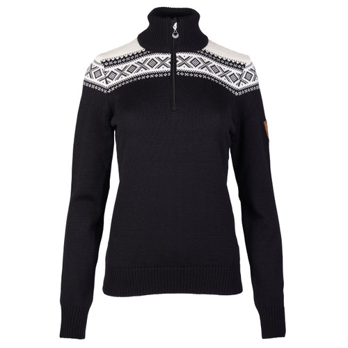 Dale of Norway Cortina Merino sweater in Black/Off-White, 93811-F