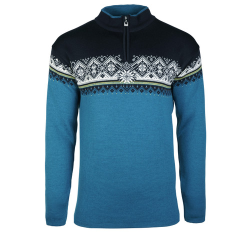 Dale of Norway Men's Moritz Pullover, Arctic Blue/Sweethoney/Navy/Off White, 91391-G