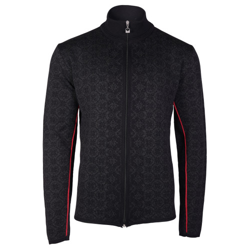 Dale of Norway Christoffer Cardigan, Mens - Black/Dark Charcoal/Raspberry - 83471-F
