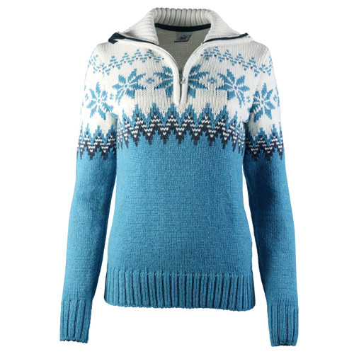 Dale of Norway Myking Sweater, Ladies - Turquoise/Dust Blue/Off White, 93011-G