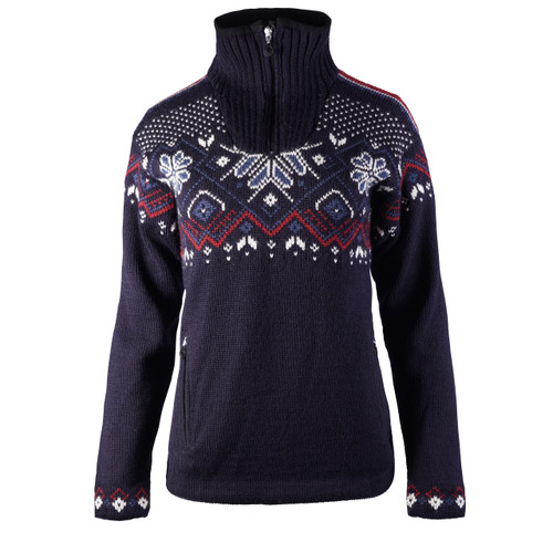 Dale of Norway Fongen Windstopper Sweater, Ladies - Navy/Off White/Red Rose/Indigo, 93961-C