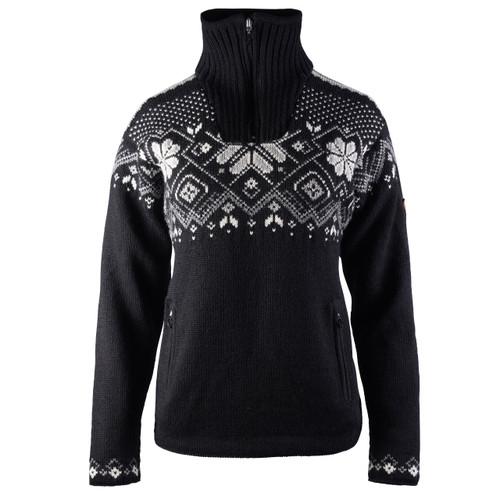 Dale of Norway Fongen Windstopper Sweater, Ladies - Black/Off White/Smoke/Light Charcoal, 93961-F