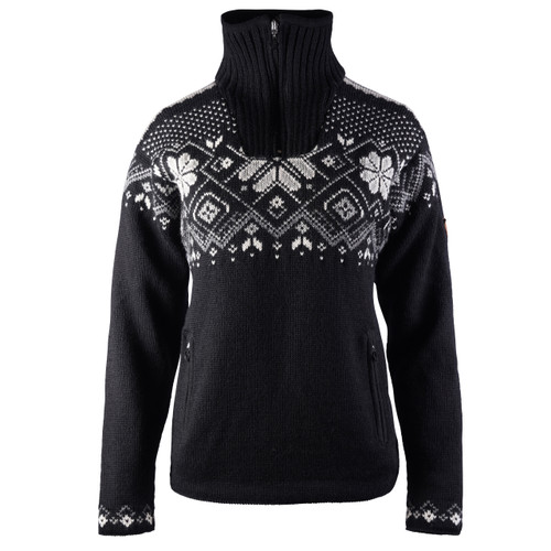 Dale of Norway Fongen Windstopper Sweater, Ladies - Black/Off White/Smoke/Light Charcoal, 93961-F