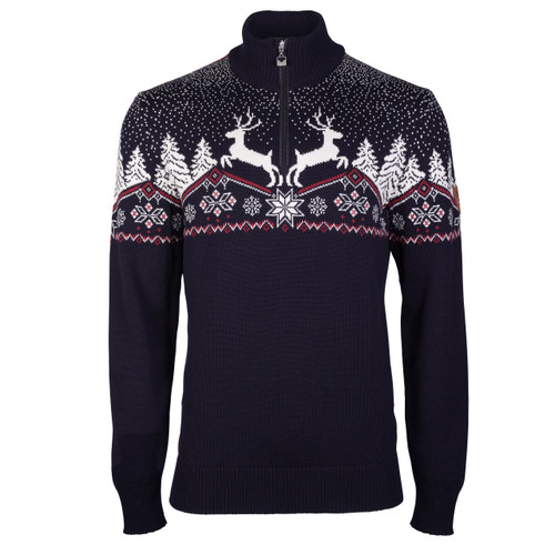 Dale of Norway Dale Christmas Sweater, Mens - Navy/Off White/Red Rose, 93931-C
