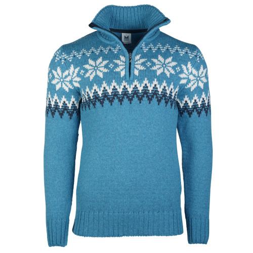 Dale of Norway Myking Sweater, Mens - Turquoise/Dust Blue/Off White, 93141-G