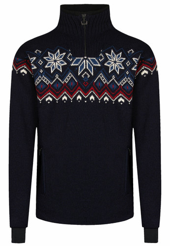 Dale of Norway Fongen Windstopper Sweater, Mens - Navy/Off White/Red Rose/Indigo, 93971-C