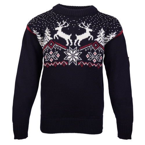Dale of Norway Dale Christmas Sweater, Childrens - Navy/Off White/Red Rose, 93941-C