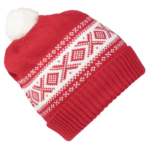 Dale of Norway Cortina Kids Hat 4-8, Raspberry/Off White, 43341-B