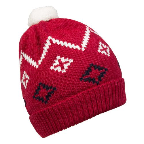Dale of Norway Seefeld Kids Hat 4-8 - Raspberry/Navy/Off White 48241-B