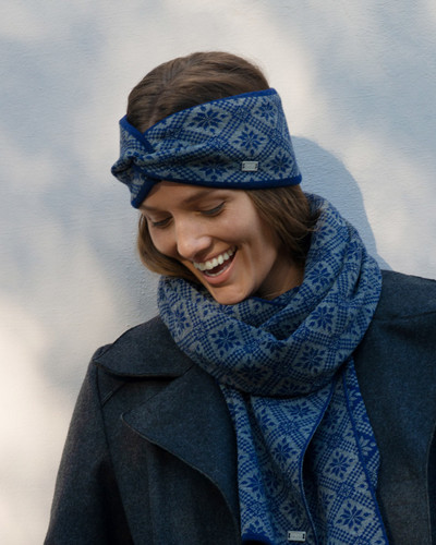Front view of Dale of Norway Christiania Headband - Electric Storm/Smoke, 26701-H