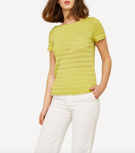 Oleana Short Sleeve Top with Lace Pattern, 309Y Yellow