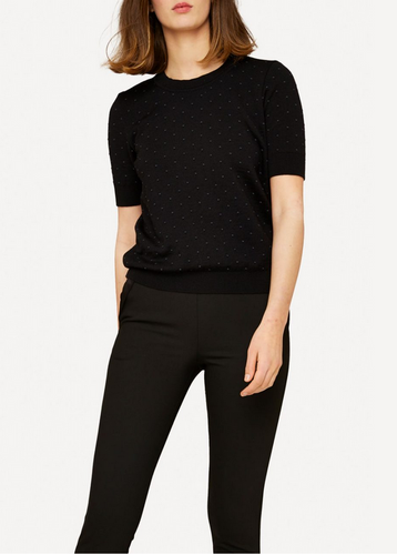 Oleana Short Sleeve Top with Small Dots 348-O Black