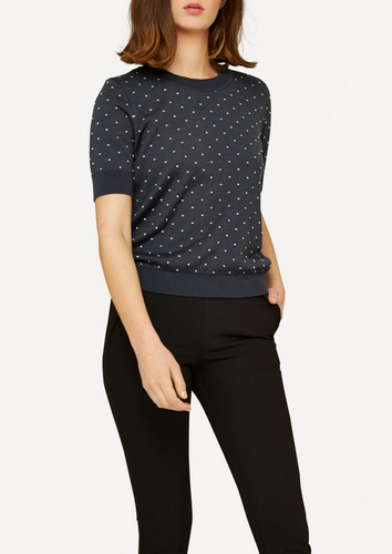 Oleana Short Sleeve Top with Small Dots (348VD) Grey