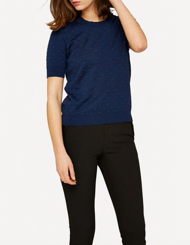 Oleana Short Sleeve Top with Small Dots (348W) Dark Blue