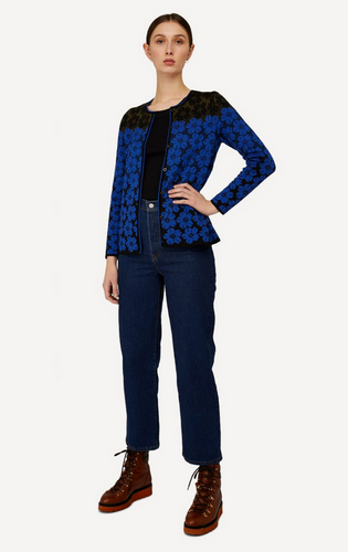 Oleana Bloss Cardigan, 350W Blue
