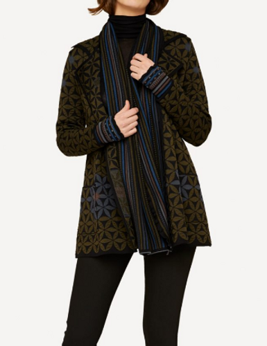 Elizabeth Oleana Long Cardigan, 345P Dark Green