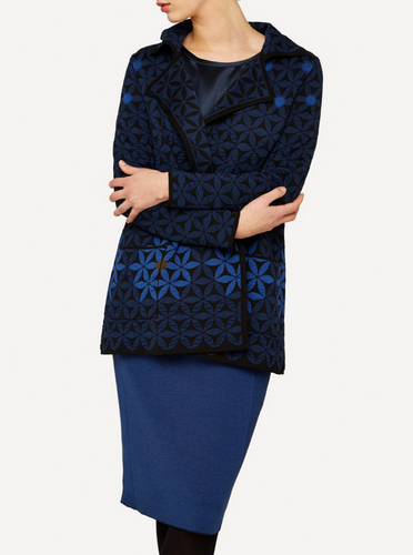 Elizabeth Oleana Long Cardigan, 345W Dark Blue