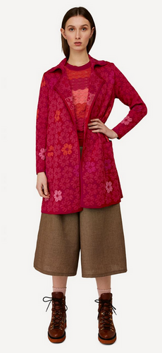 Oleana Bloss Long Cardigan, 358R Red