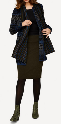 Ester Oleana Short Knitted Skirt, 321P Dark Green