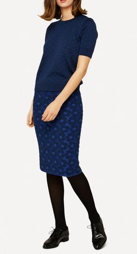 Oleana Bloss Knitted Skirt, 352W Dark Blue