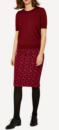 Oleana Bloss Knitted Skirt, 352K Cerise